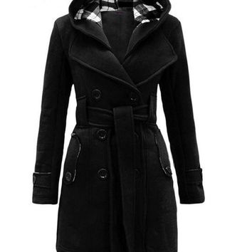 Casual Winter Warm Hooded Pea Coat