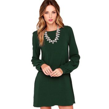 Womens Cosy Long Sleeve Chiffon Casual Dress +Gift Necklace