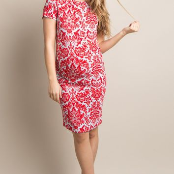 Red-Aqua-Fitted-Damask-Maternity-Dress