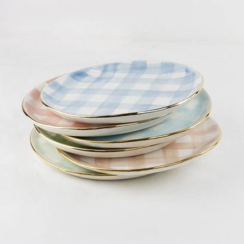 "8"" Salad plate Handmade with wash of gingham watercolor glaze and 22k gold edges. Choose color."