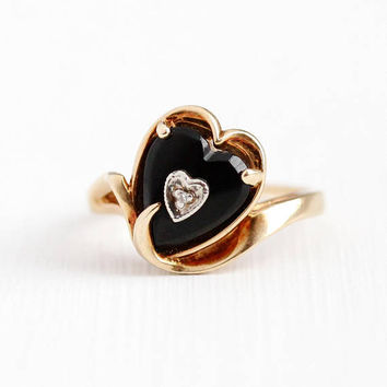 Vintage Heart Ring - 10k Rosy Yellow Gold Genuine Black Onyx & Diamond Fine Jewelry - Size 6 1/4 Retro 1970s Dark Chalcedony Gem Statement