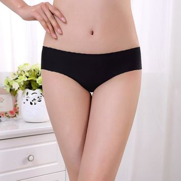Hot Sale 2016 Women's Fashion Invisible Underwear Spandex Modal Seamless Crotch Panties Sexy Briefs Free Size Ladies #EL