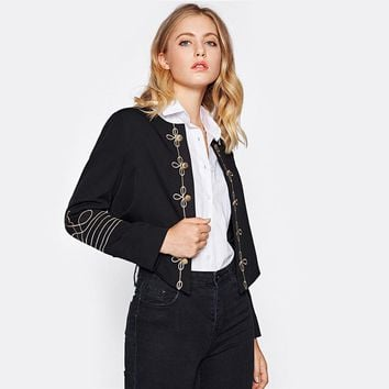 Golden Button Embellished Embroidery Blazer Black Elegant Women's Coat and Blazers Collarless Fitted Work Blazer