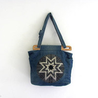 Vintage denim jean purse. across body bag. quilted tote