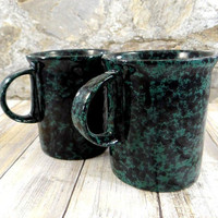 Vintage Bennington Potters Black on Green Single Trigger Mugs