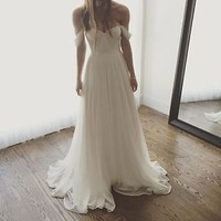 Ivory Off the Shoulder Prncess Wedding Dresses Boho Beach Bridal Dresses
