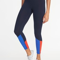 High-Rise 7/8-Length Color-Block Compression Leggings for Women | Old Navy