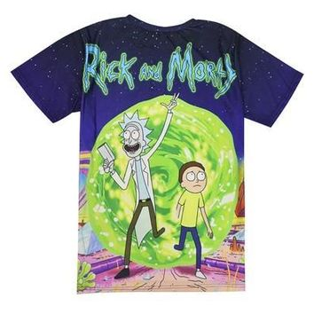 2016  Teens T Shirt  Rick and Morty Cartoon Printed Thin Environmental Fiber Fabric T-shirt [8833519884]