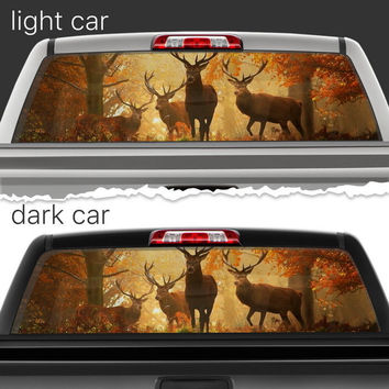 Perforated Vinyl Decal Rear Window Car Deer Forest Hunting N019 FRST