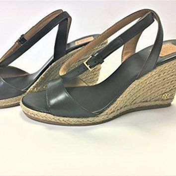 Tory Burch 40022 Landon Wedge Espadrille Ankle Strap Sandal Black Size 7