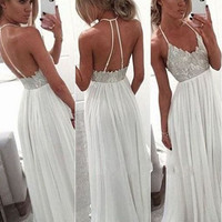 White Open Back Long Prom Dresses