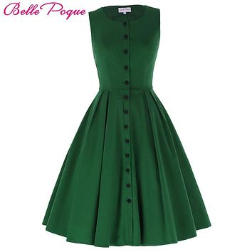 Belle Poque Women Summer Dress 2017 Retro Vintage Sleeveless Screw Neck Button High Stretch Flared Rockabilly Party Picnic Dress