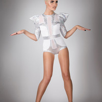 Space Bride Bodysuit, White & Silver Hologram Spandex Leotard, Alternative Wedding Romper, Futuristic Edgy Stage Outfit, by LENA QUIST