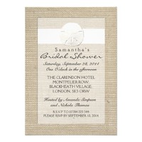 White Burlap Sand Dollar Beach Bridal Shower Personalized Invitation