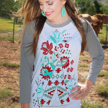 Red & Turquoise Raglan Tee. Sizes S-3XL. Colorful Southwest Theme Raglan T Shirt