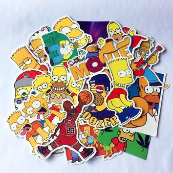 25pcs/set Anime Cartoon Simpson Mixed Stickers For Laptop Sticker Decal Fridge Skateboard PVC Stickers For Travel Suitcas toy