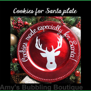 Santa Christmas Plate - Red Christmas Eve Holiday Cookie Father Christmas Platter with Rudolph Reindeer and Decal Wording