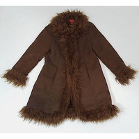 Vintage Faux SUEDE Leather Fur Coat - 90s Furry Collar Almost Famous Coat - Small Hippie Gypsy Boho - Brown 1990s Retro Fuzzy Winter Coat