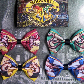 Harry Potter Hair bow pick your favorite Hogwarts house geeky handmade fun fabric bow