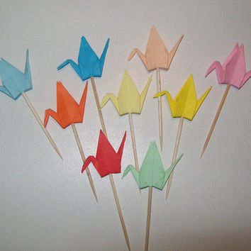 Origami Crane cupcake topper, Set of 50 Wedding cake topper, wedding crane topper, Cupcake topper, origami crane, wedding decoration