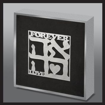 Love Silver Paper Laser Cut Wood Art Panel