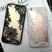 Floral Sexy Lace Mandala Case For iPhone 7 6 6S Plus Fashion Vintage Flower Clear Cover For iPhone 6 6S Plus Phone Capa Back
