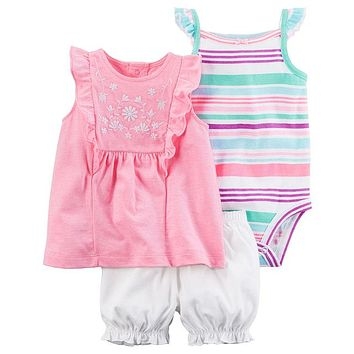 Infant Girls Pink In The Sun 3 Piece Pants Set