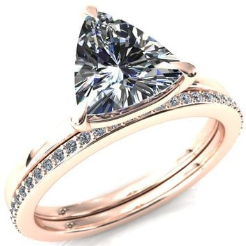 Cynthia Trillion Moissanite 3 Claw Prong Solitaire Ring