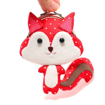 Cute vivid red squirrel clutch purse