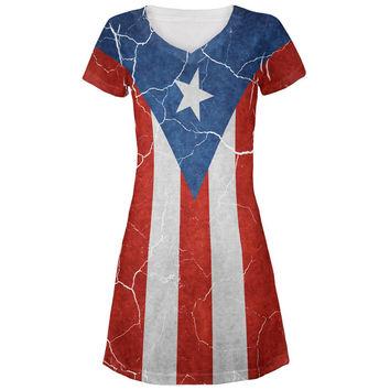 Distressed Puerto Rican Flag All Over Juniors V-Neck Dress