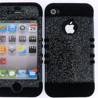 BUMPER CASE FOR IPHONE 4 SOFT BLACK SKIN HARD TRANS GLITTER SMOKE COVER