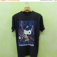 15% SALES Vintage New York Yankees Snoopy LA Los Angeles Majestic Baseball Team MLB Tee T Shirt