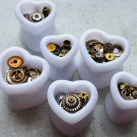 STEAMPUNK Style Heart Shaped White Double Flare Tunnels/ Plugs With Brass & Steel Cogs ** Sizes 10mm / 12mm / 14mm  **
