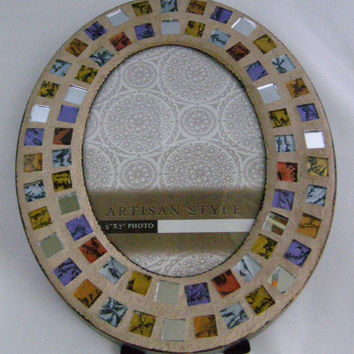 Copper, Silver, Purple, Gold Stained Glass Mosaic Frame, Oval Frame, 5 x 7, Copper Frame, Holiday Gift Idea, Home Decor