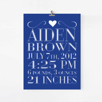 Personalized Birth Announcement for boys, Sweet & Simple Kids Wall Art, children decor