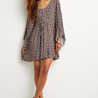 Abstract Print Babydoll Dress