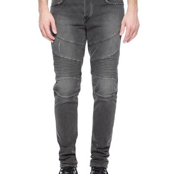 True Religion Rocco Skinny Distressed Moto Mens Jean - Grey Rider