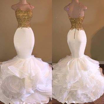 Elegant White Mermaid Evening Dress With Gold Lace 2018 Spaghetti Strap Backless Floor Length Long Gowns Prom Robe De Soiree