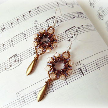 Elegant Beaded Earrings in Bronze, Purple and Silk with Swarovski Bicone Crystals, Rulla and Dagger beads, Handmade Unique Jewelry