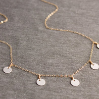 Gold Fill Sterling Silver Multi Disc Dainty Coin Necklace