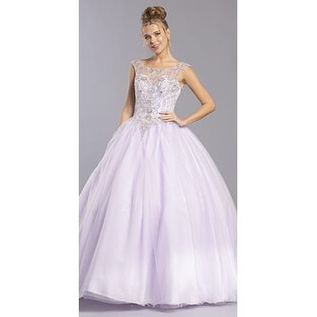 Cut-Out Lace-Up Back Lilac Long Quinceanera Dress
