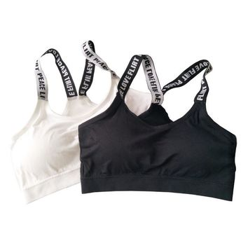 Women Seamless Padded Sport Bra Letters Straps Absorb Sweat Fitness Yoga Bras For Gym Workout Running Vest Sport Crop Tops