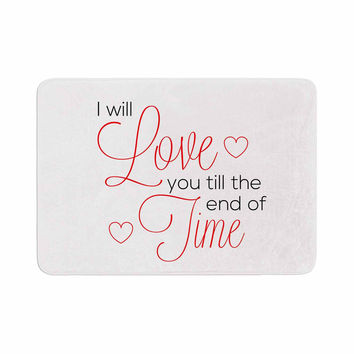 "NL Designs ""I Will Love You"" White Red Memory Foam Bath Mat"