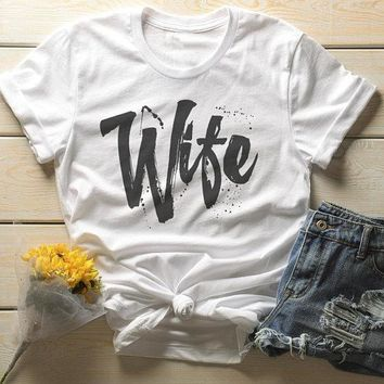 Men's Wife T-Shirt Married Shirt Wedding Bride Matching Couple's Tee Grunge Retro