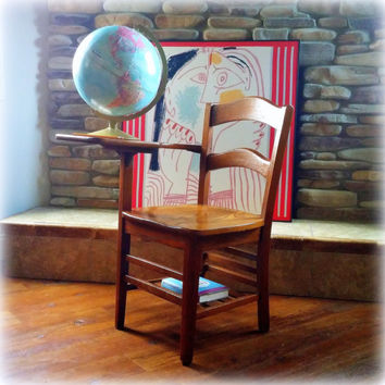 VINTAGE SCHOOL DESK  >>> Antique Desk & Chair >>> 1920s Mission Style Solid Oak Wood >>> Children's Furniture >>> Vintage Back to School
