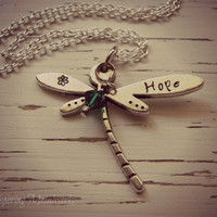 HOPE dragonfly metal stamped necklace - pewter- you choose crystal color - with silver plated chain