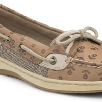 Sperry Top-Sider Angelfish Anchor Embossed Slip-On Boat Shoe LinenAnchorLeather, Size 12M  Women's Shoes