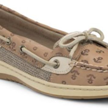 Sperry Top-Sider Angelfish Anchor Embossed Slip-On Boat Shoe LinenAnchorLeather, Size 9M  Women's Shoes