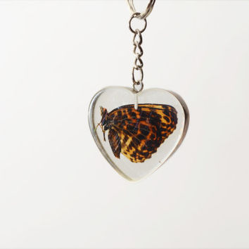 Butterfly Keychain - Heart Shape