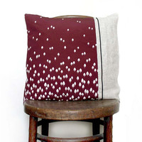 Autumn Dusk Vintage Recycled Silk and Undyed Linen Cushion /Pillow Cover. 18x18'' (46x46cm). LAST ONE